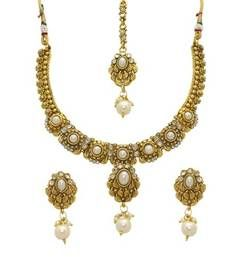 Buy Gold Alloy Necklace Set With Maang Tika necklace-set online