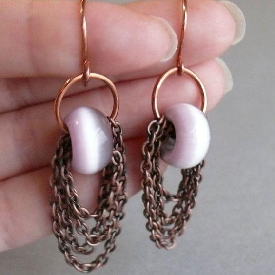 multi layer chain purple cat's eye earrings by WanderingJeweler,