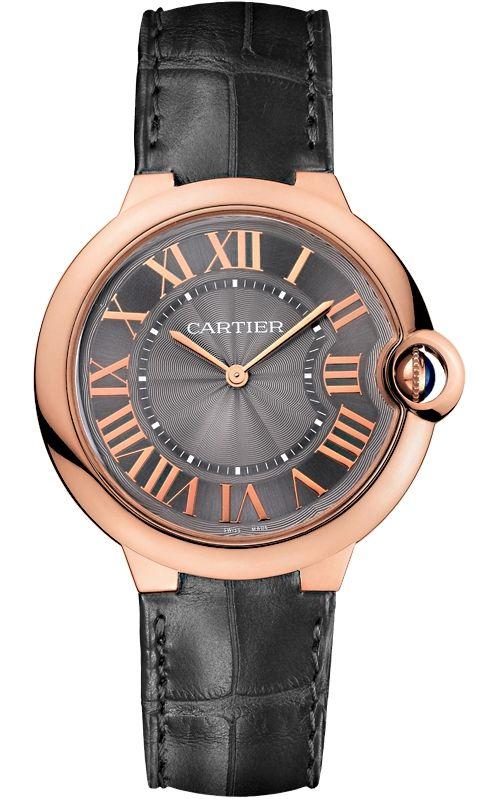 W6920089 Cartier Ballon Bleu 40 Mm Gray Leather Pink Gold Watch