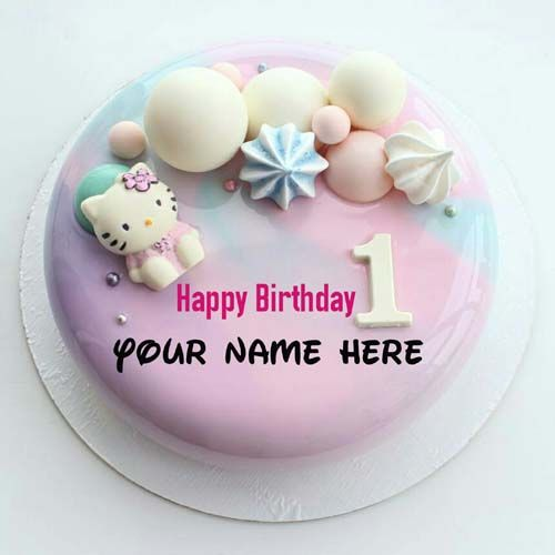 Hello Kitty 1st Birthday Cake With Name For Baby Girl Baby