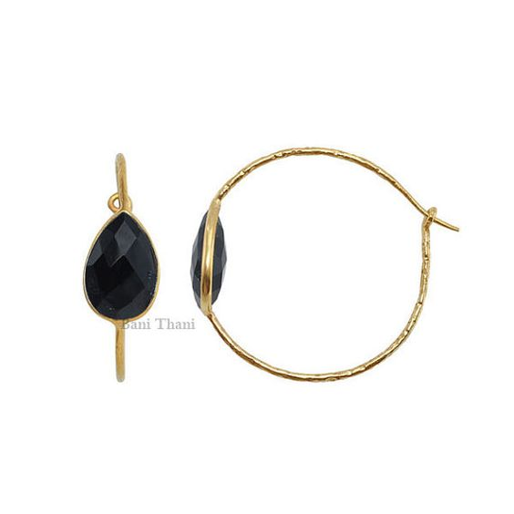 Black Onyx 10mm x 14mm Micron Gold Plated Hammered by BaniThani