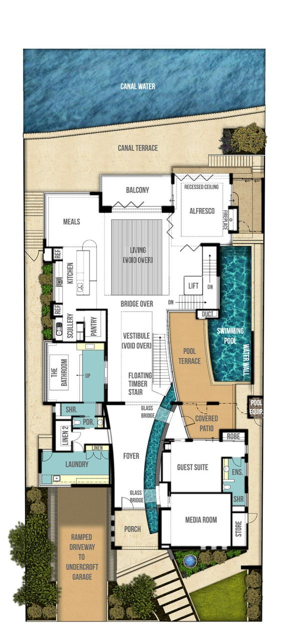 Main level indoor outdoor pond undercroft home plans for Trademark quality homes floor plans