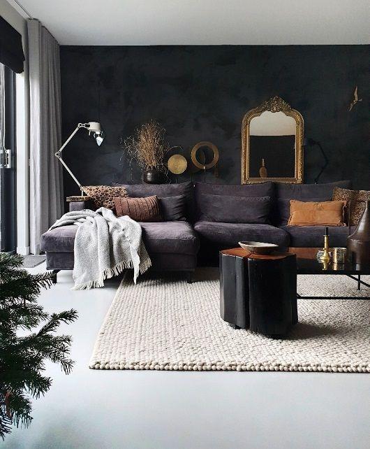 Een Zwarte Muur In Huis Met Een Prachtige Betonlook Zwarte Muren