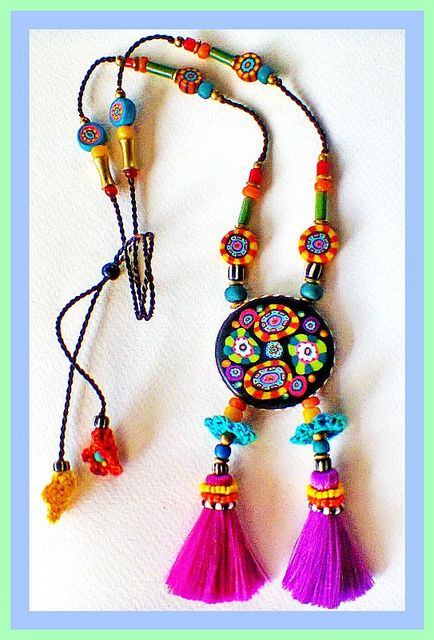 ~ Handmade Fimo beads jewelry, long necklace adjustable ~ | Flickr - Photo Sharing!
