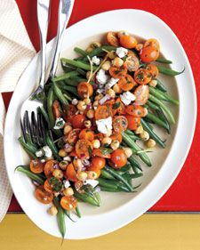 Green Bean, Tomato, and Chickpea Salad. This may become your go-to vegetarian main course during green bean season in the summer! Damn it's good! Perfect to take to a BBQ with friends too..