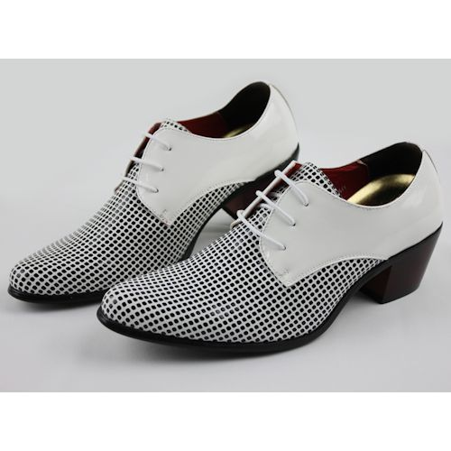 White Dotty Patent Leather High Heel Wedding Prom Dress Shoes Men SKU-1100112