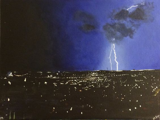 Lightning - Acrylic Painting on Canvas - size: 12x16 inch - Signed by MaxZgallery on Etsy