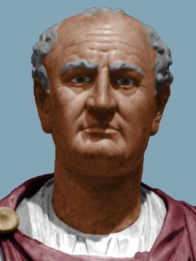 (c. 70-80 CE) Colorized Bust of Emperor Vespasian