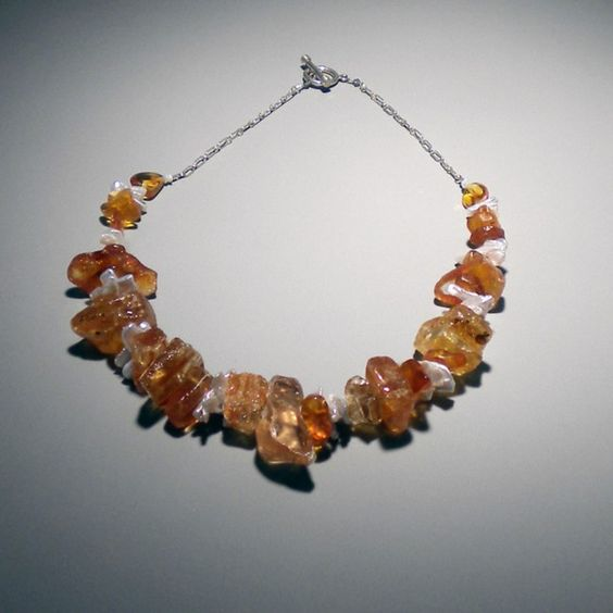 Large Chunky Amber and Pearl Necklace from Katwalk's Jewelry | Square Market