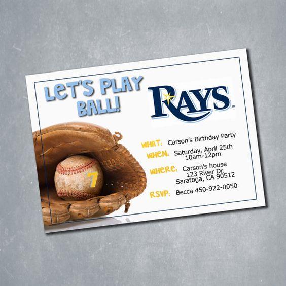 $10 Tampa Bay Rays MLB Baseball Birthday Invitation. One sided Digital File. || Etsy Shop: MeghansView