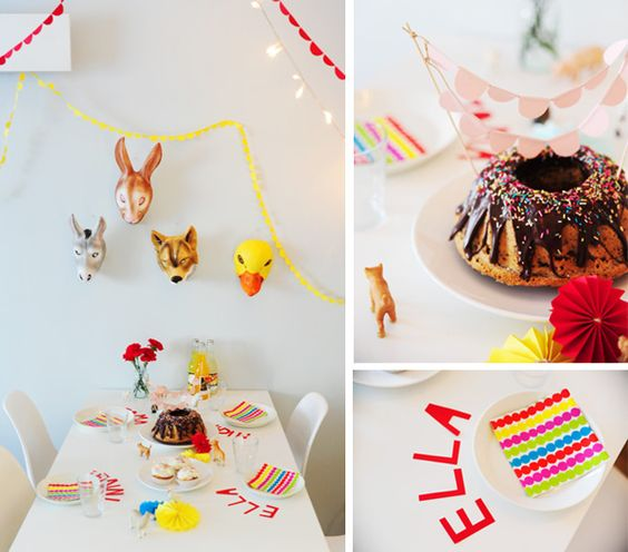 a colourful birthday table by misspfui, via Flickr
