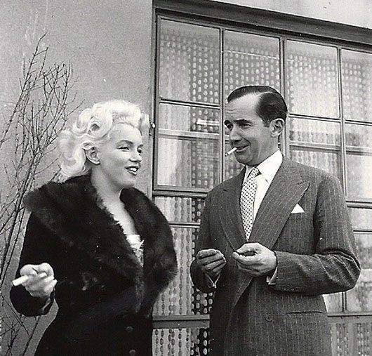 "Marilyn Monroe - April 1, 1955 - with Edward Murrow - during discussions at the Ambassador Hotel in New York regarding her forthcoming appearance on Murrow's ""Person To Person"" television show"