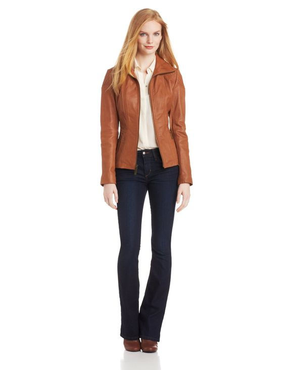 Anne Klein Women&39s Elaine Leather Jacket:Amazon:Clothing Cognac