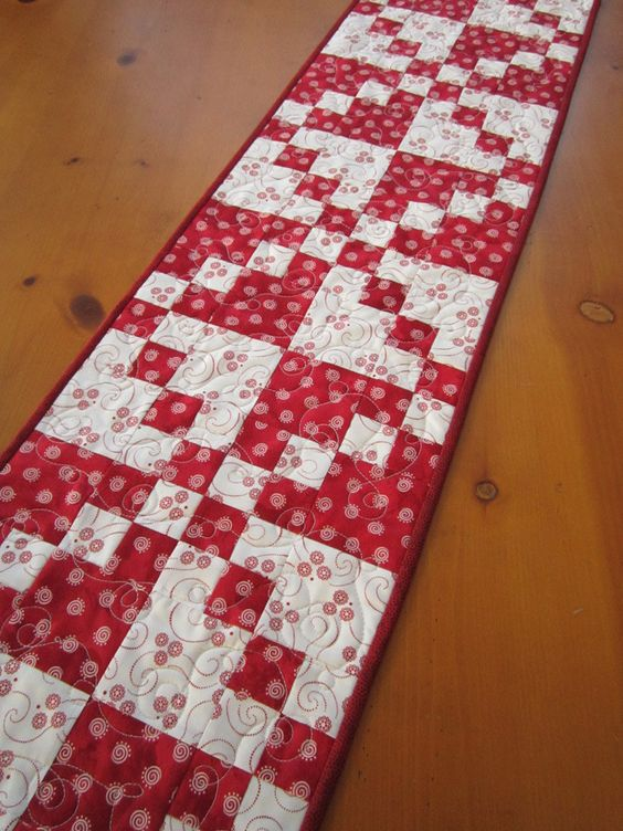 Quilted Table Runner Red and White by patchworkmountain.com