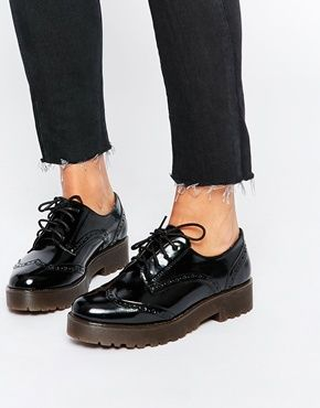 new look chaussures plates style richelieu semelle paisse chaussures pinterest asos. Black Bedroom Furniture Sets. Home Design Ideas