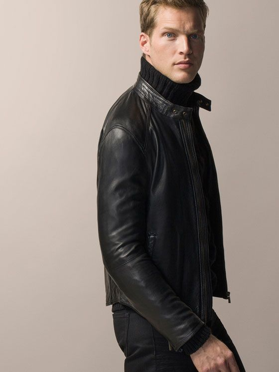 Massemodutti NAPPA LEATHER JACKET WITH MANDARIN COLLAR