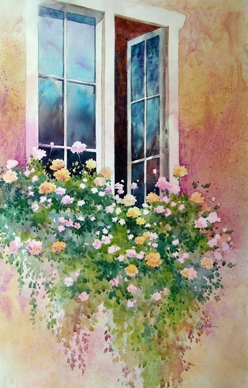 Watercolor Windows Flowers Watercolor In 2020 With Images