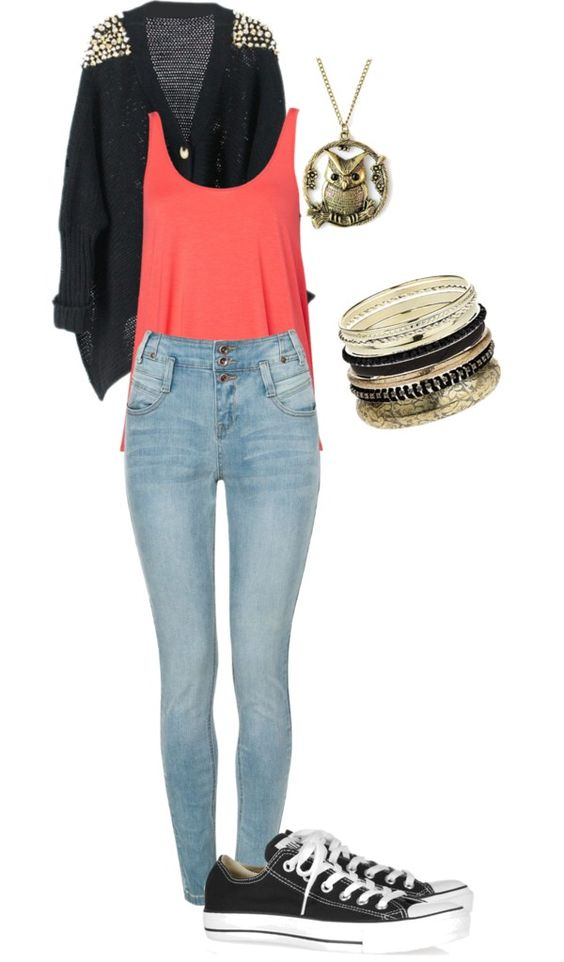 U0026quot;School Outfit #4u0026quot; by kendallbaten on Polyvore | Converse