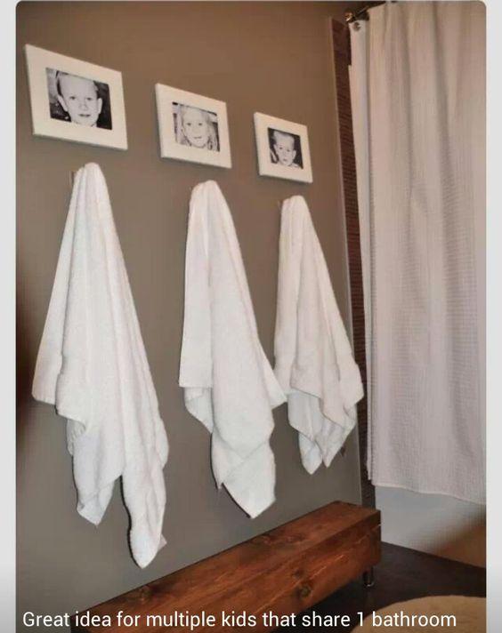 Towel idea for multiple kids sharing a bathroom