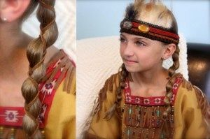 Leather Accent Braids... a Pocahontas hairstyle for #Halloween in under 7 mins!