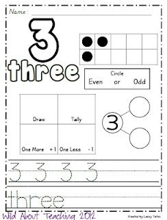 free math sheets for each number to 20!