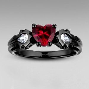 warcraft horde black ring with cut synthetic ruby