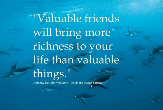 """Valuable friends will bring more richness to your life than valuable things."" ~ A.D. Williams"