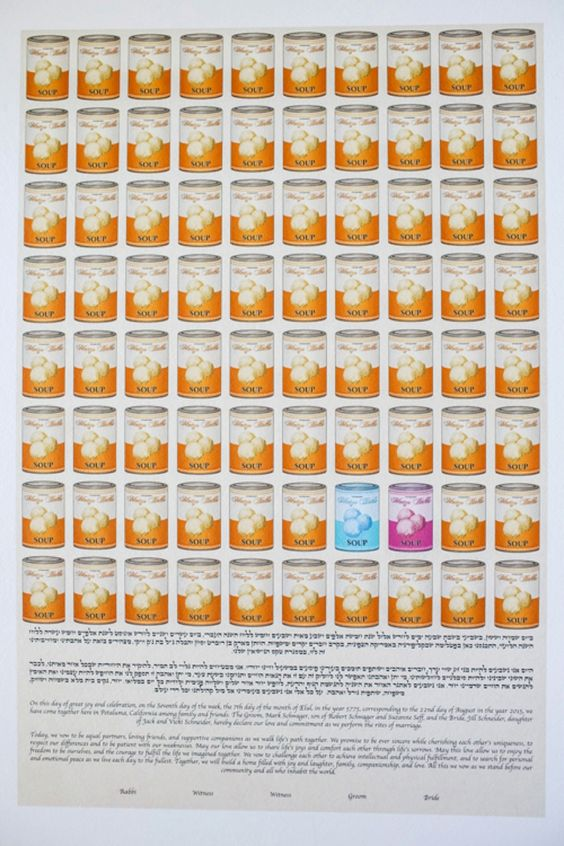A Pop Art Ketubah / Andy Warhol Campbell Soup painting inspired ketubah / A Vera Wang Bride / a Jewish travel-themed barn wedding / at Olympia's Valley Estate, Petaluma, California, USA / Photography by Chrisman Studios / http://www.smashingtheglass.com/2016/08/02/vera-wang-bride-jewish-travel-themed-barn-wedding-olympias-valley-estate-petaluma-california-usa/