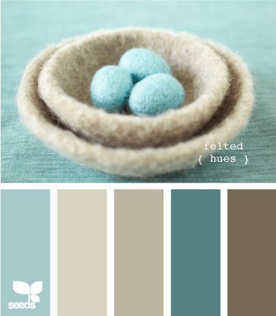 Felted hues - Aqua and Brown