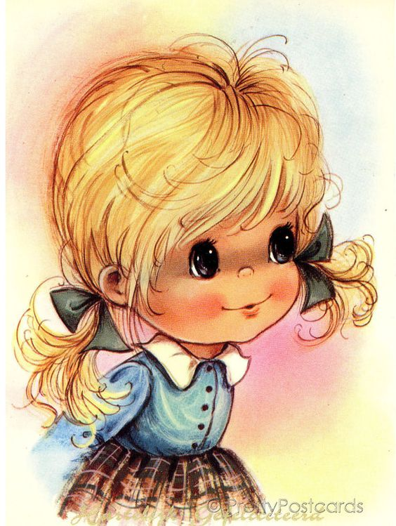 Vintage postcard Dutch girl: