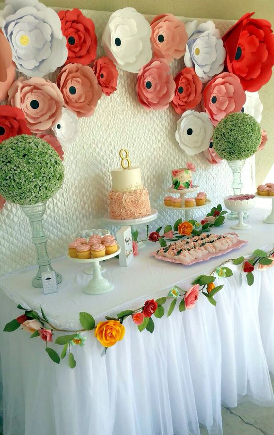 Dessert table with a paper flower backdrop for a garden tea party by Pretty Little Showers