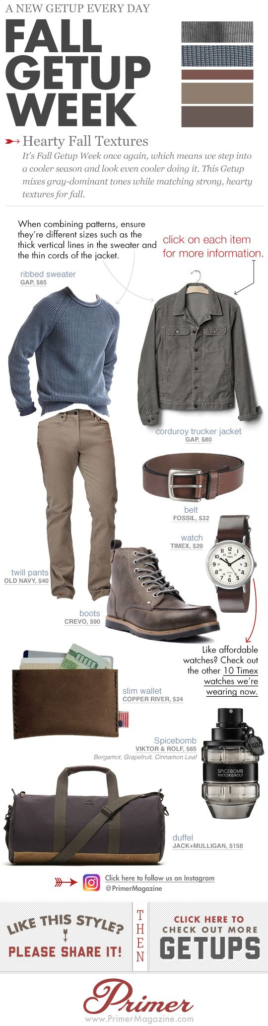 It's Fall Getup Week once again, which means we step into a cooler season and look even cooler doing it. This Getup mixes gray-dominant tones while matching strong, hearty textures for fall.