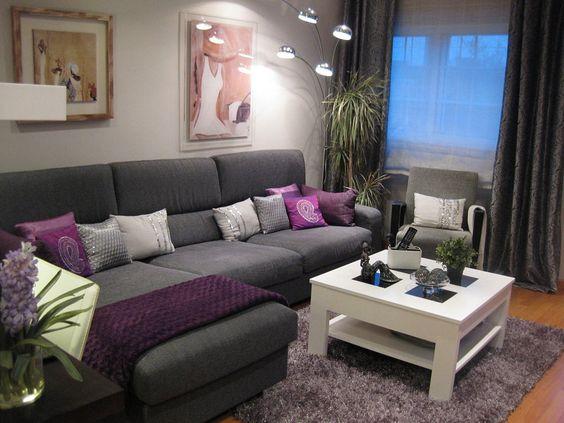 Salas gris con morado buscar con google organizador for Decoracion de living room