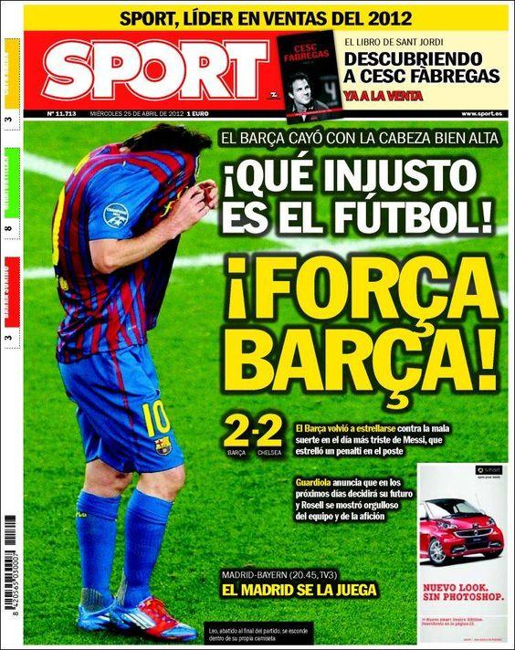Prensa deportiva del 25 de abril 2012 – Vuelta semifinales de Champions