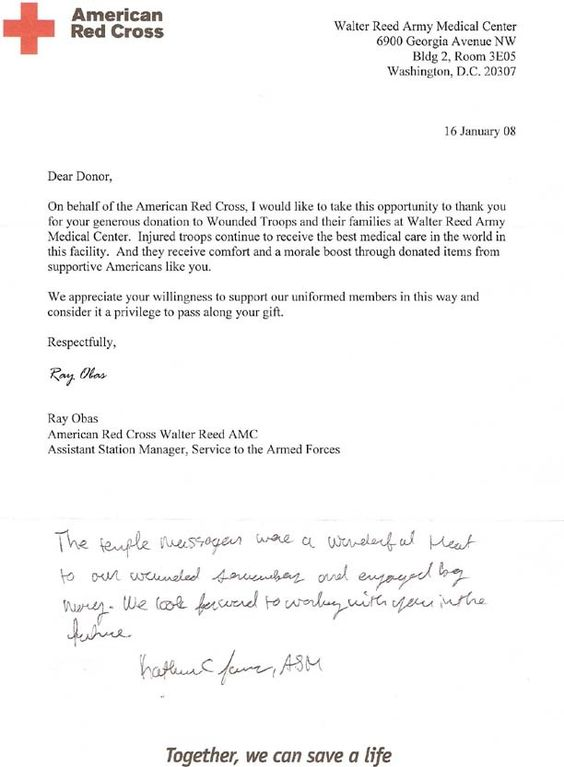 Walter Reed Army Medical Center letter of appreciation for donated - mortgage commitment letter