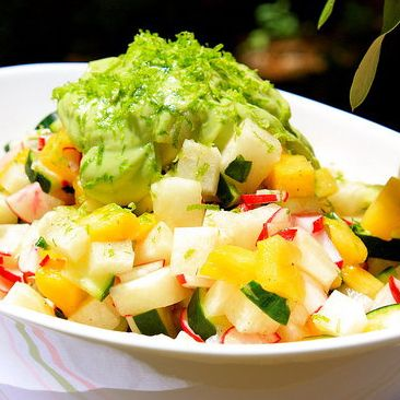with radishes, cucumber, pineapple and basil. Dressing: an avocado ...