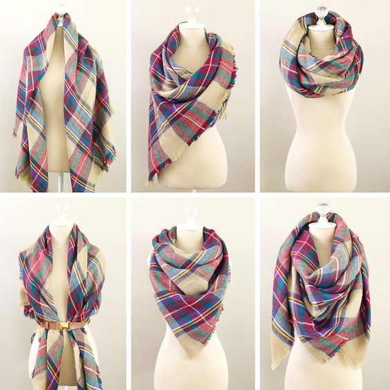 6 Ways To Wear A Blanket Scarf, How to tie a blanket scarf, plaid scarf - visit StylishPetite.com for full tutorial or simply click the photo above!: