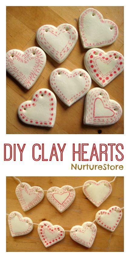 How to make DIY clay hearts decorations - so pretty!Nx