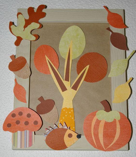 Diy tableau automne feuilles h risson et champigons avec for Set de table feuille