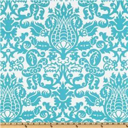 HAVE  Imagine how beautiful your space could be in turquoise/white Damask.     13x72 table runner made from Amsterdam cotton damask fabric. Ends