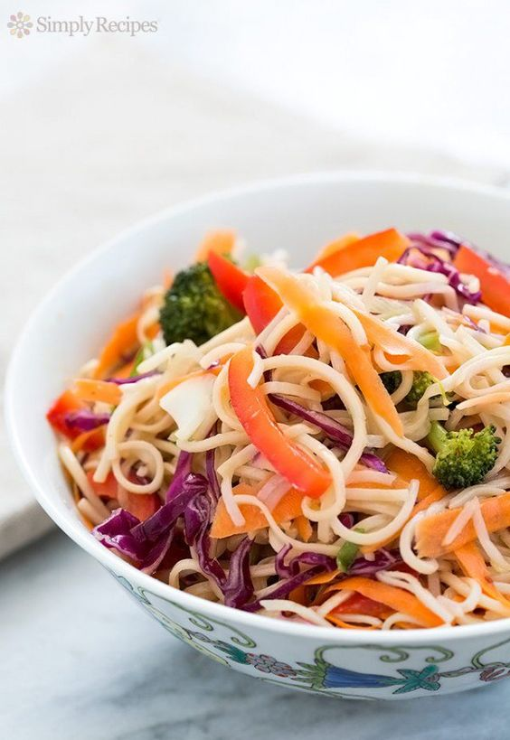 Asian Noodle Salad ~ Asian noodle salad with plenty of colorful veggies and a sesame ginger dressing. ~ SimplyRecipes.com