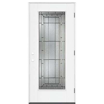36 In X 80 In Sequence Full Lite Left Hand Outswing Primed Impact Steel Prehung Front Door No Brickmold Steel Doors Doors Exterior Doors