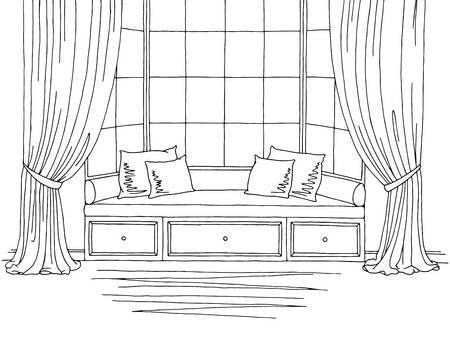 Stock Vector Interior Design Sketches Interior Sketch Drawing