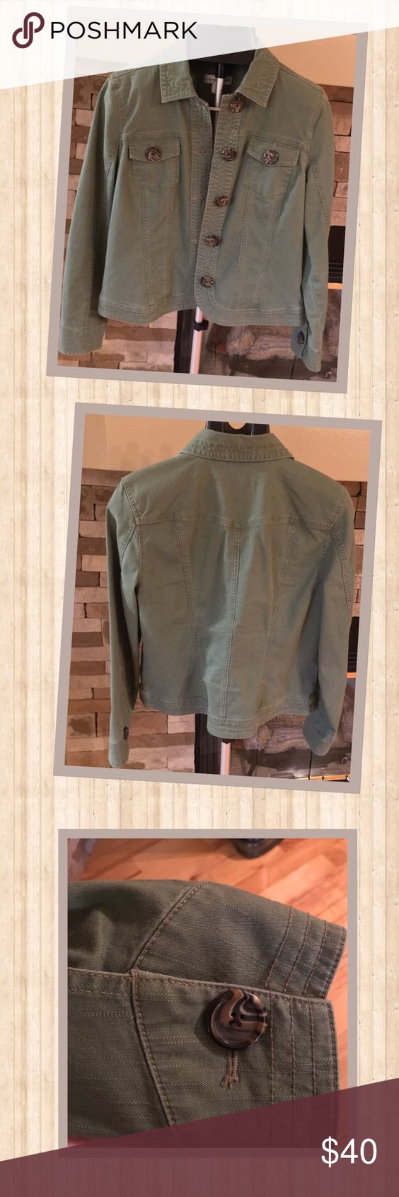 Perfect Fall Green Utility Jacket Christopher and Banks perfect fall green button up utility jacket.  Has two chest pockets.  97% Cotton and 3% Spandex. A must have for your fall wardrobe. Christopher & Banks Jackets & Coats Utility Jackets