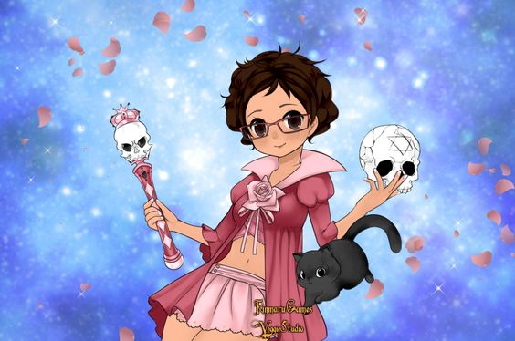 This is me as a magical girl for Halloween. The skulls here refer to the fact that i do indeed love a skeleton, which is Blueberry.