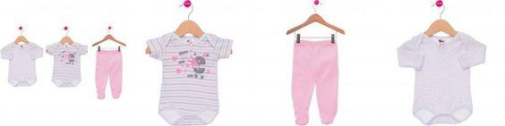 Body Bebê 3 Peças  BB2 Amigas Para Toda Hora Branco Listrado