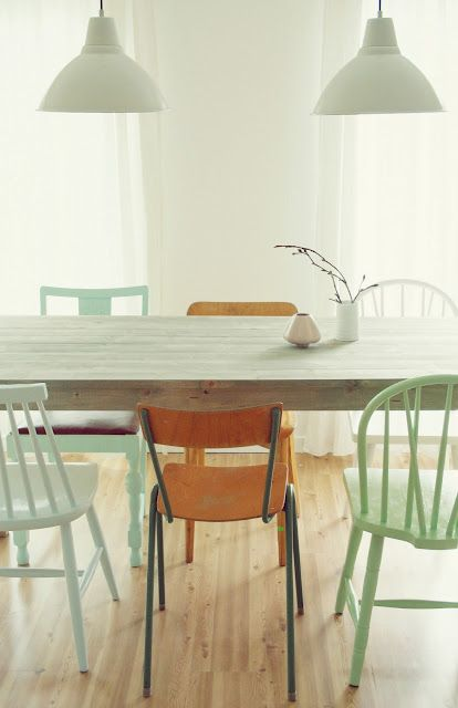 Different chairs- love this look.