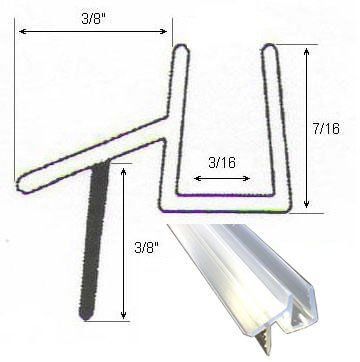 Clear Shower Door Sweep Seal with Drip Rail for 3/16 Glass - 36 ...