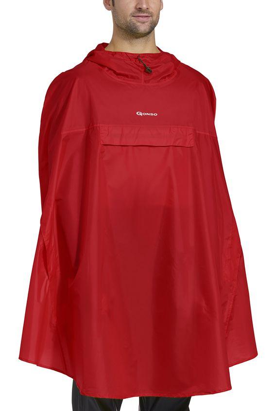 Gonso Allwetter Cape Ambato V2 - Chubasquero de ciclismo para hombre, color rojo, talla S/M