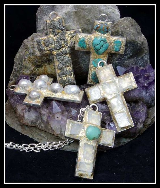 Crosses with pearls and turquoise.